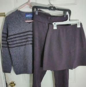Three-piece deep purple sweater pants and skirt se